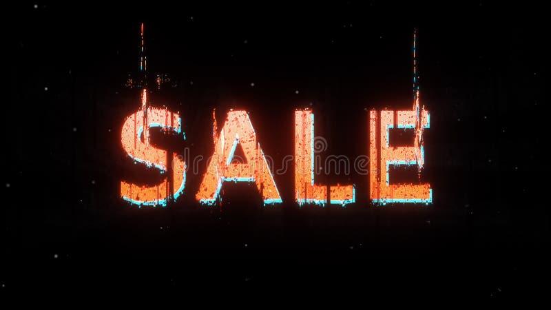 Estilo distorcido vermelho do pulso aleatório do cartaz da venda imagem de stock royalty free