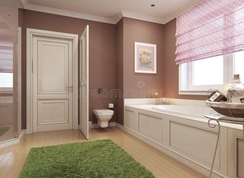 Estilo do clássico do banheiro das crianças ilustração royalty free