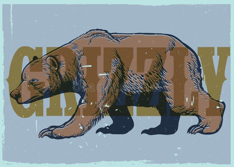 Estilo do desenho da mão do cartaz do urso pardo do vintage ilustração do vetor