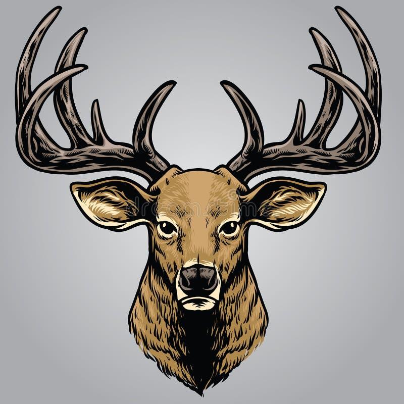 Estilo do desenho da mão da cabeça dos cervos ilustração royalty free