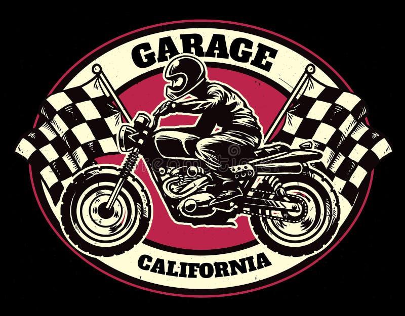 Estilo do desenho da mão de competir o crachá da garagem ilustração stock