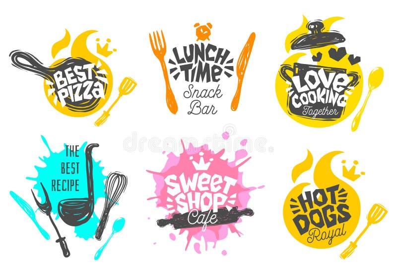 Estilo do esboço que cozinha os ícones da rotulação ajustados ilustração stock