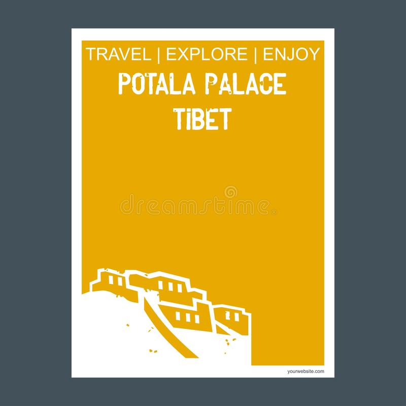 Estilo do folheto do marco do monumento do palácio, do Tibet de Potala e t lisos ilustração stock