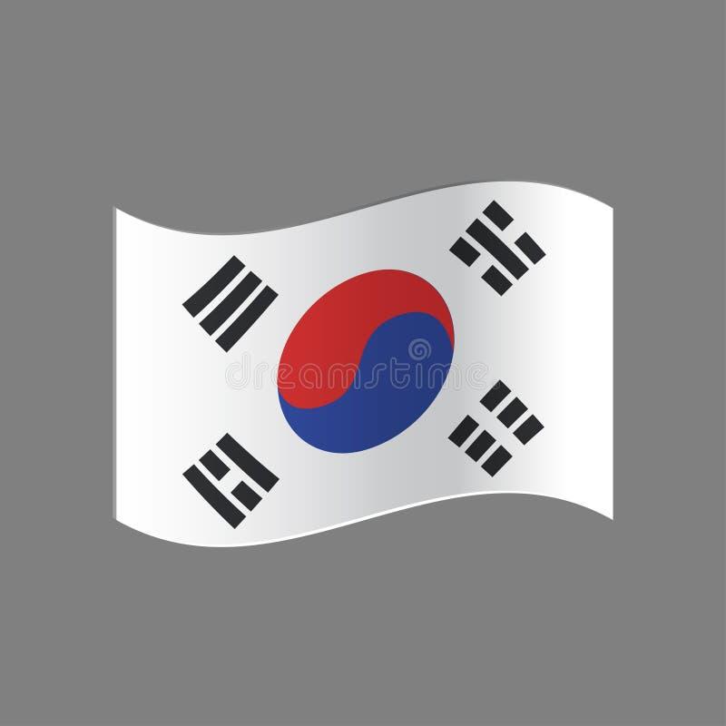 Estilo do grunge da bandeira de Coreia do Sul Bandeira do Grunge de Coreia do Sul, ilustração do vetor Os cursos coloridos da esc ilustração stock