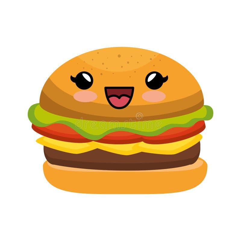 estilo do kawaii do caráter do Hamburger ilustração royalty free