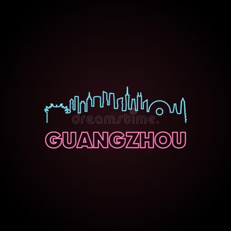 Estilo do néon da skyline de Guangzhou ilustração do vetor