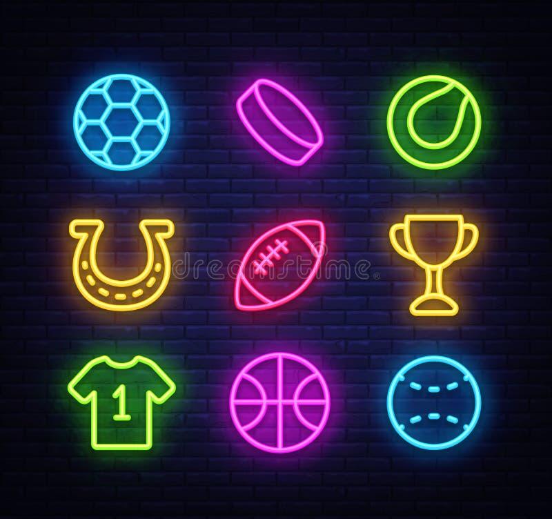 Estilo do néon dos ícones da coleção do esporte Grupo do esporte dos sinais de néon ícones em esportes, futebol, basquetebol, tên ilustração stock