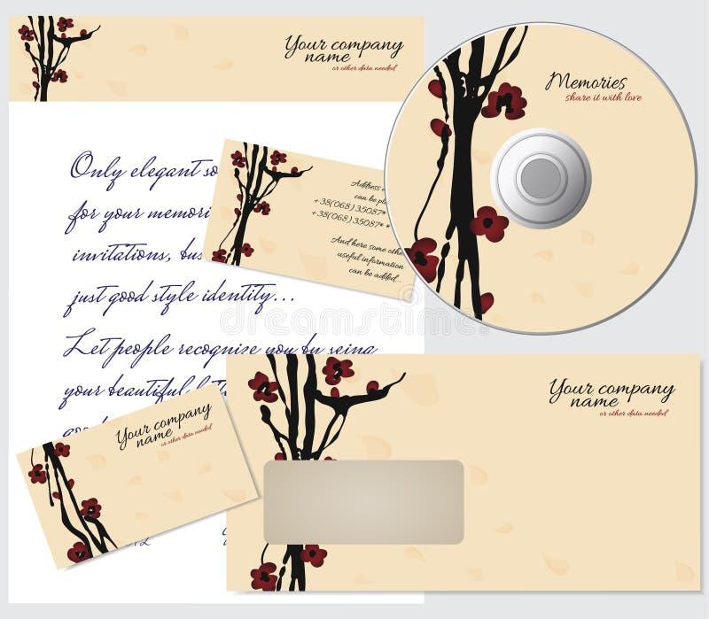 Estilo do negócio com cereja de sakura ilustração stock