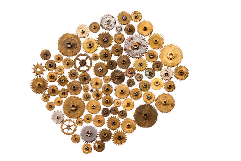 Estilo do ornamento de Steampunk e projeto mecânico no fundo branco O maquinismo de relojoaria do vintage parte o close up Fôrma  imagem de stock