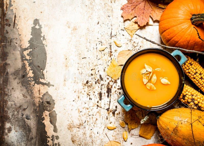 Estilo do outono Sopa da abóbora com sementes fotos de stock royalty free