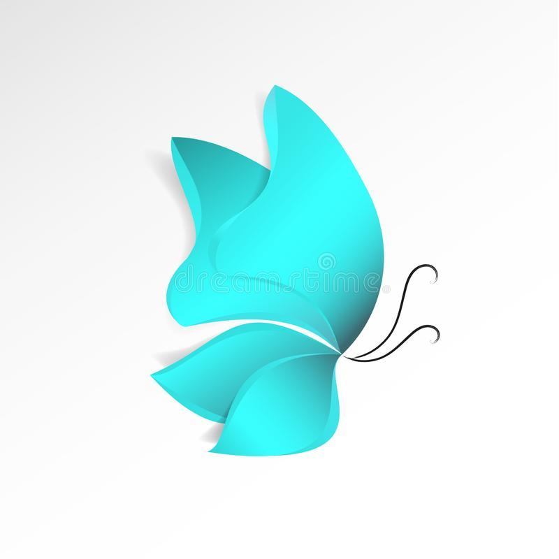 Estilo do papel-corte da borboleta dos azul-céu com a sombra isolada no fundo branco Objeto abstrato do projeto da natureza Símbo ilustração royalty free