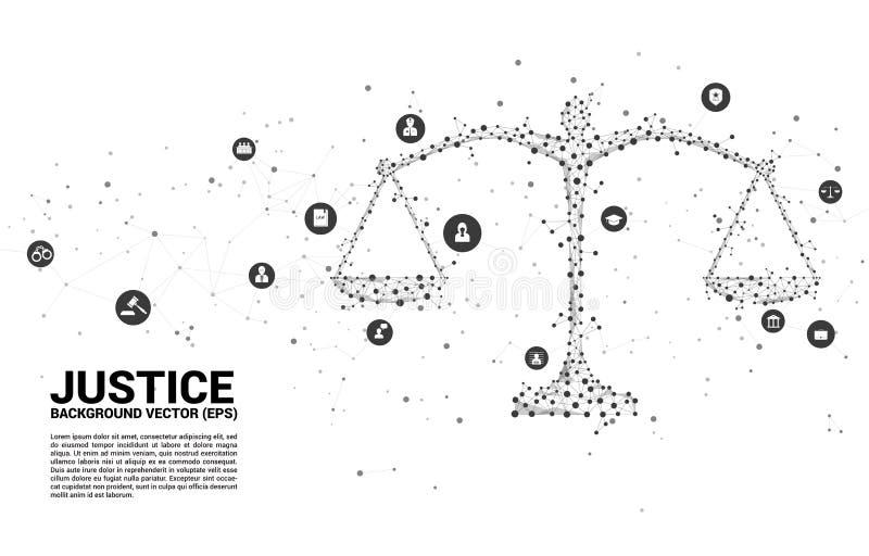 Estilo do polígono da escala de justiça a partir de uma conexão de ponto e linha e ícone ilustração stock