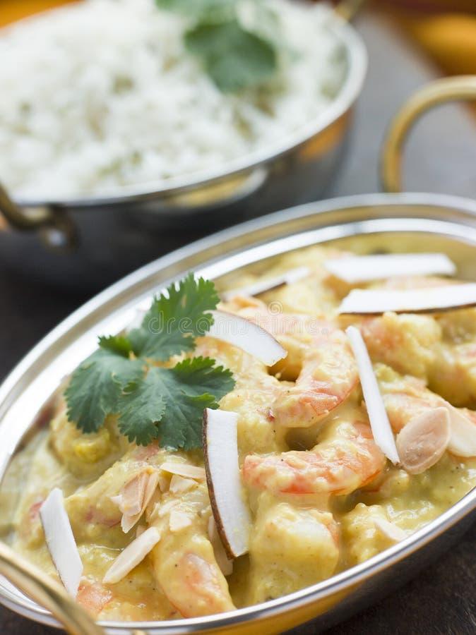 Estilo do restaurante de Korma do camarão do tigre com arroz imagem de stock royalty free