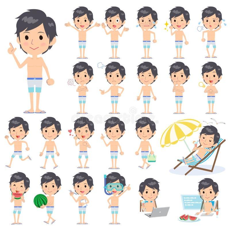 Estilo do roupa de banho da cor do azul três do homem ilustração stock