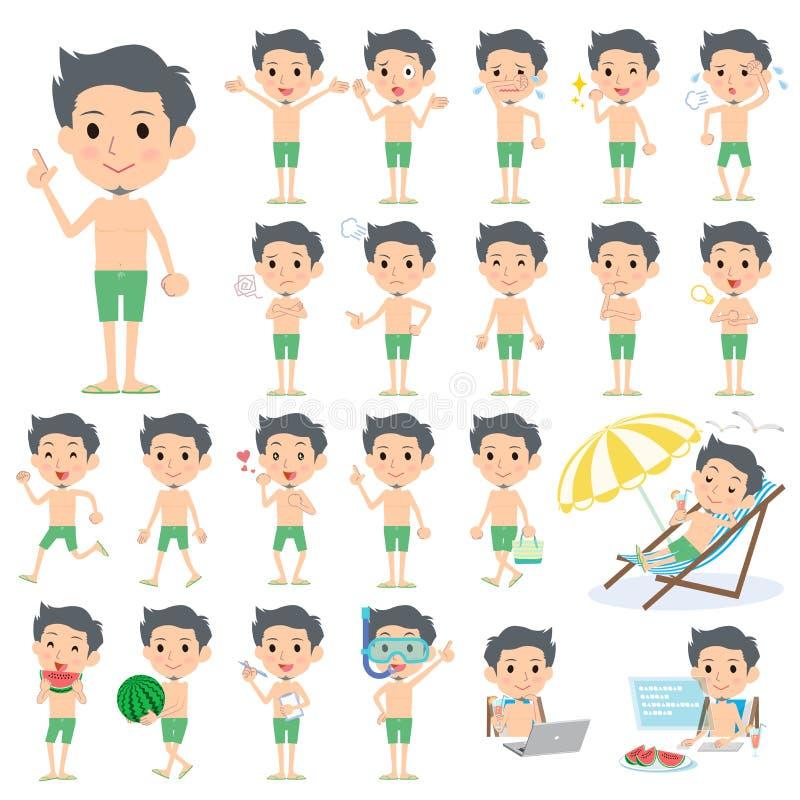 Estilo do roupa de banho do verde do homem da barba do cabelo curto ilustração royalty free