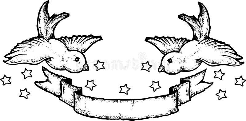 Estilo do tatuagem das andorinhas ilustração royalty free