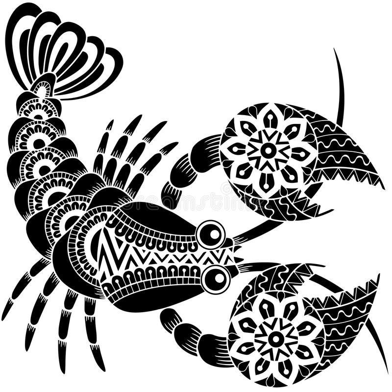 Estilo do tatuagem Silhueta do câncer isolada no fundo branco Cancro do sinal do zodíaco abstraia o fundo crustáceos ilustração royalty free