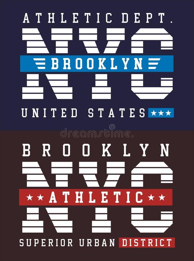 Estilo do time do colégio, tipografia do esporte atlético de NYC Brooklyn para a cópia da camisa de t ilustração do vetor