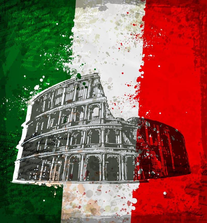 Estilo do vintage de Colosseum em Roma ilustração stock