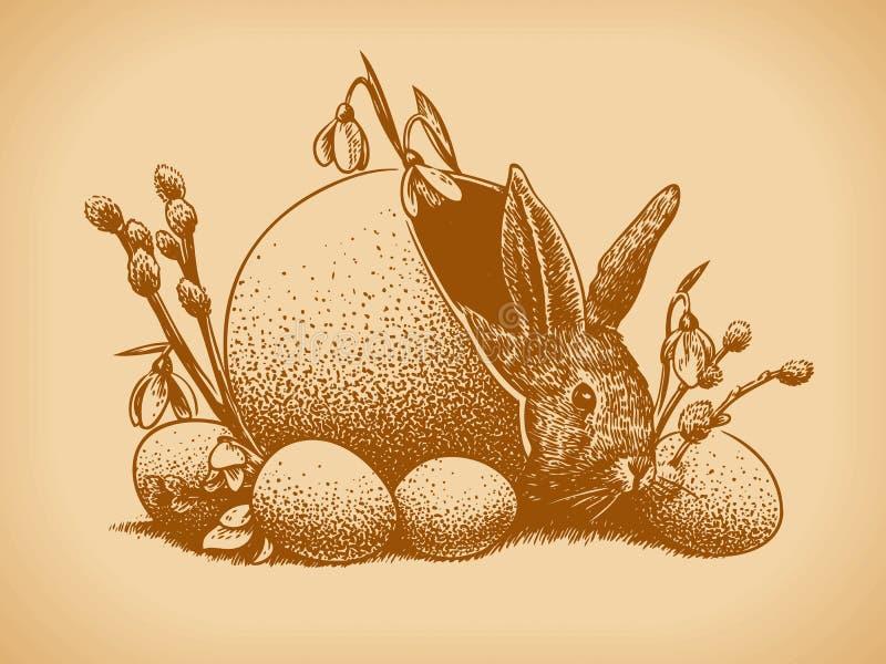 Estilo do vintage do coelho de Easter ilustração do vetor