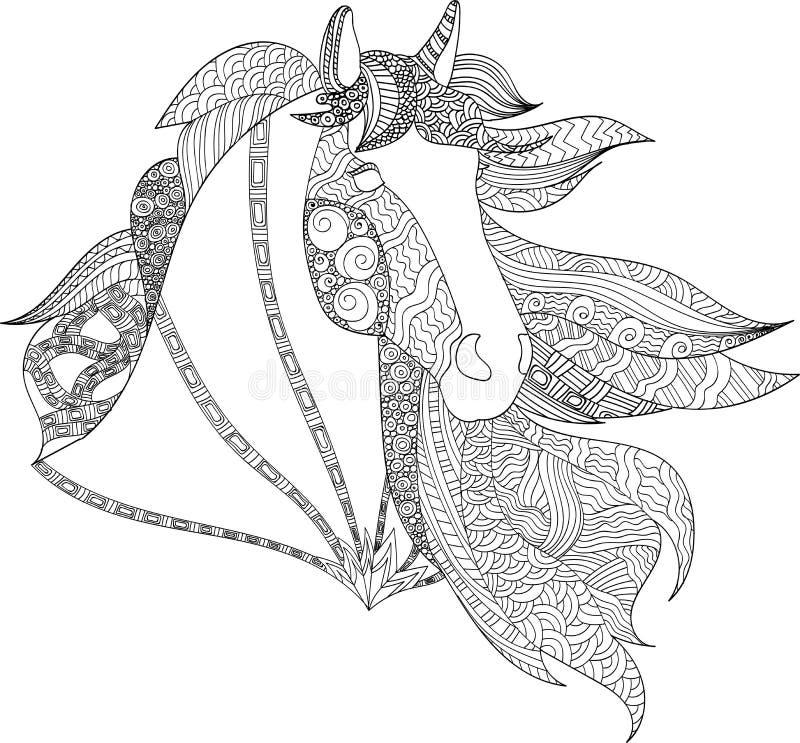 Estilo do zentangle do cavalo do desenho, ilustração estilizado do cavalo no estilo da garatuja do emaranhado ilustração do vetor
