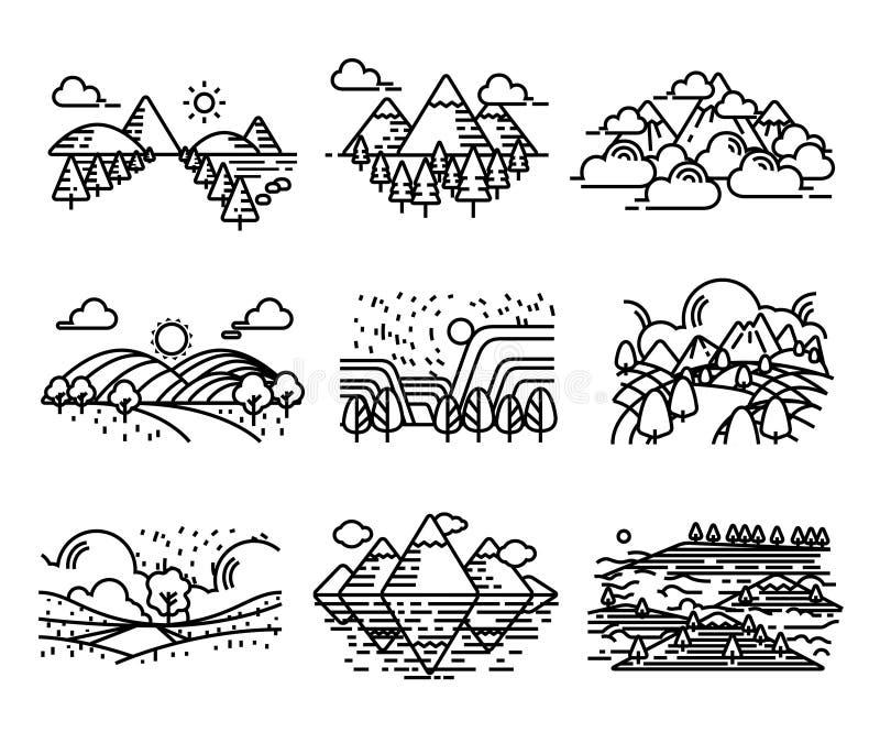 Estilo dos ícones do vetor da opinião da paisagem ilustração royalty free