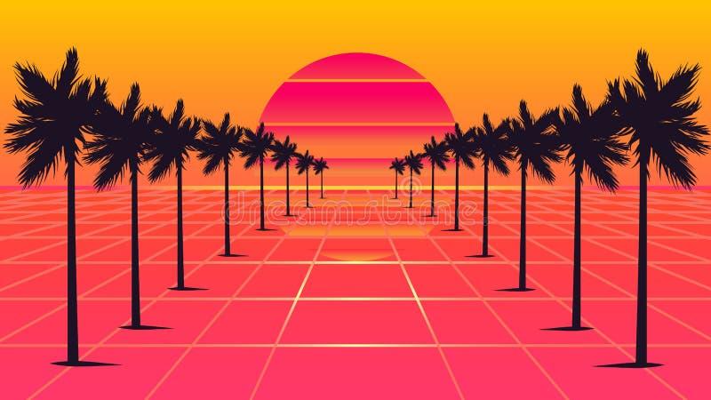 Estilo dos anos 80 das palmeiras fotos de stock