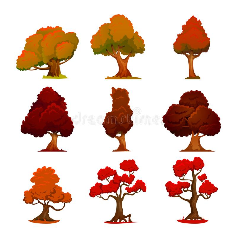 Estilo dos desenhos animados da árvore do outono Árvores estilizados no estilo moderno Natureza e ecologia, sinal crescente exter ilustração stock