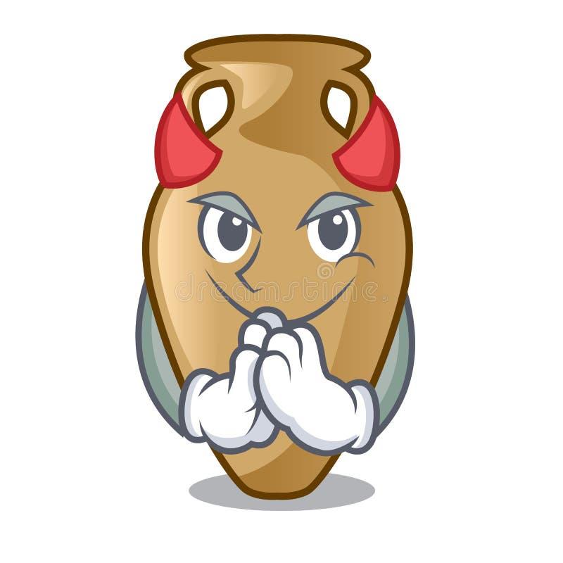 Estilo dos desenhos animados da mascote da ânfora do diabo ilustração do vetor