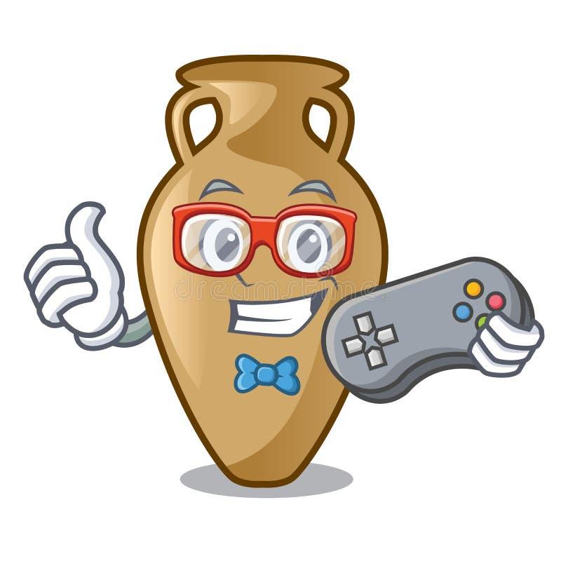 Estilo dos desenhos animados da mascote da ânfora do Gamer ilustração stock
