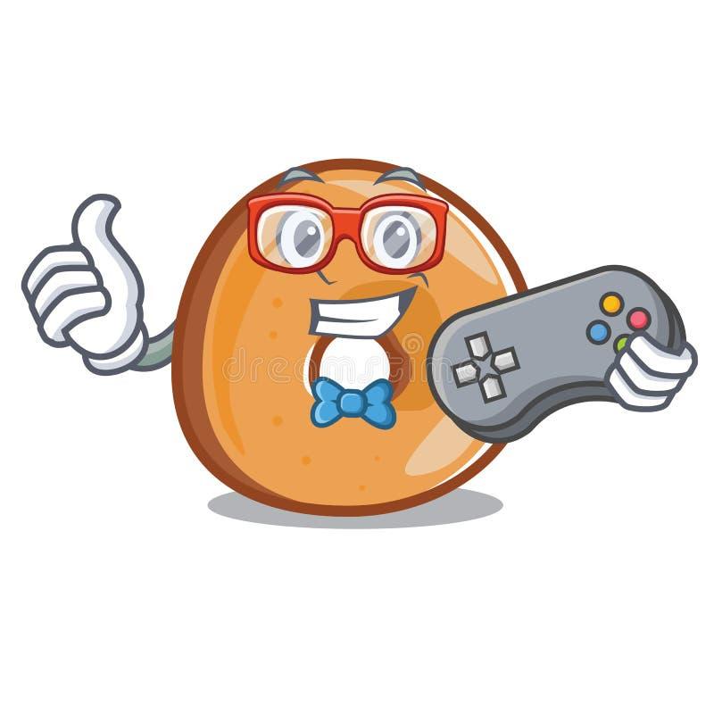 Estilo dos desenhos animados da mascote dos bagels do Gamer ilustração royalty free