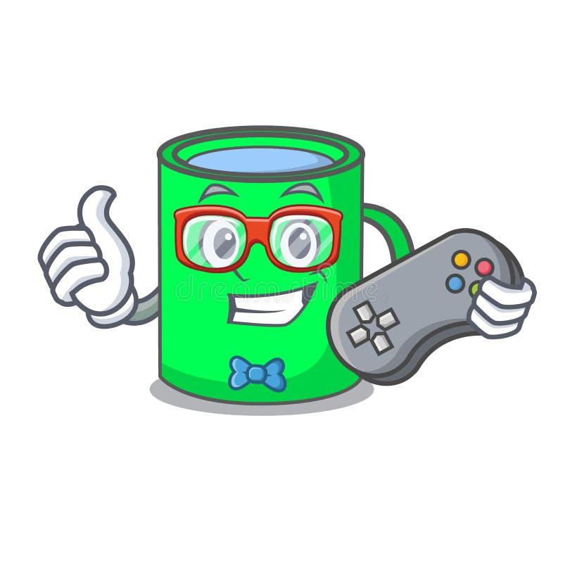 Estilo dos desenhos animados da mascote da caneca do Gamer ilustração stock