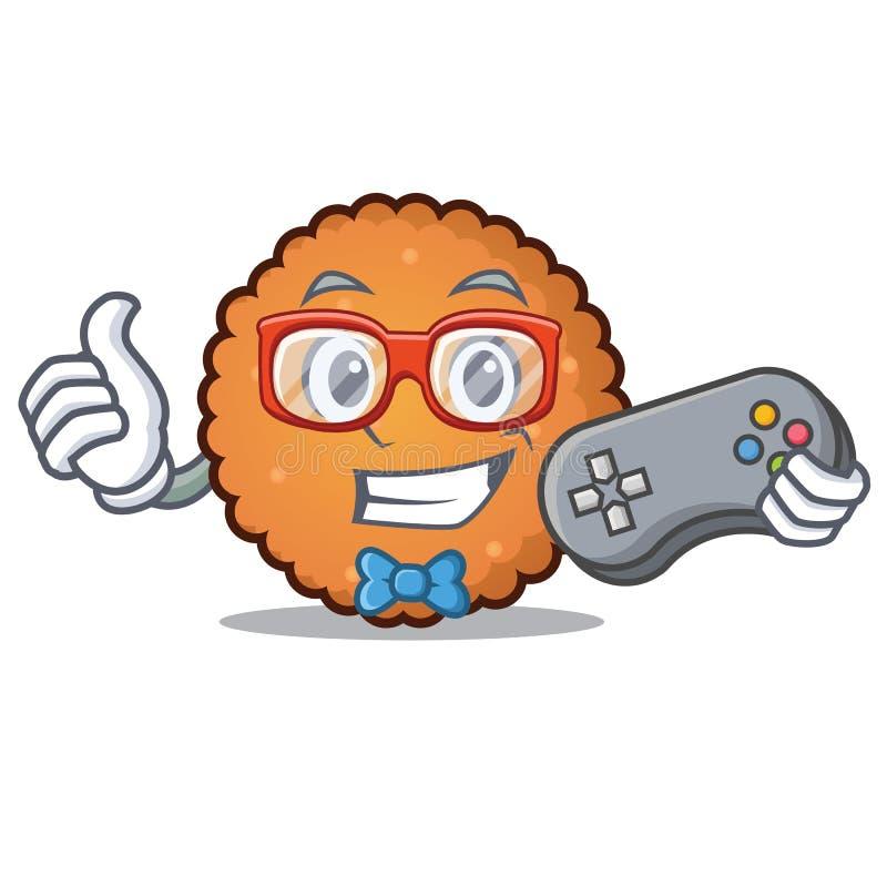 Estilo dos desenhos animados da mascote das cookies do Gamer ilustração stock