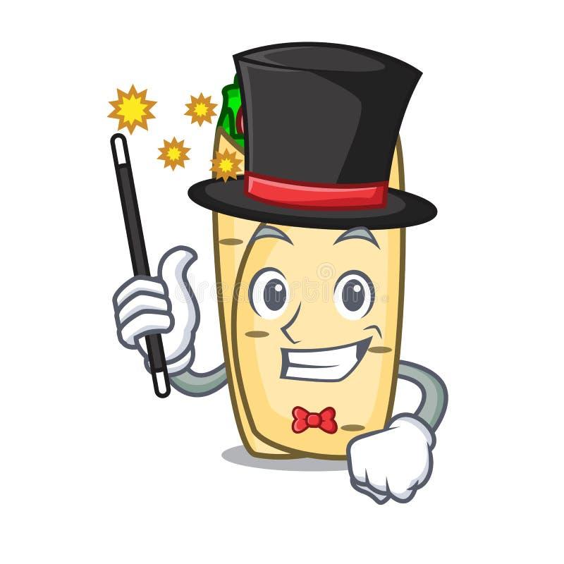 Estilo dos desenhos animados da mascote do burrito do mágico ilustração royalty free