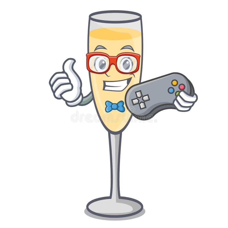 Estilo dos desenhos animados da mascote do champanhe do Gamer ilustração stock