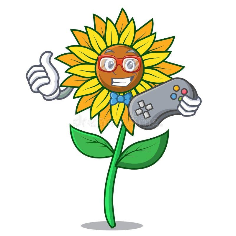 Estilo dos desenhos animados da mascote do girassol do Gamer ilustração royalty free
