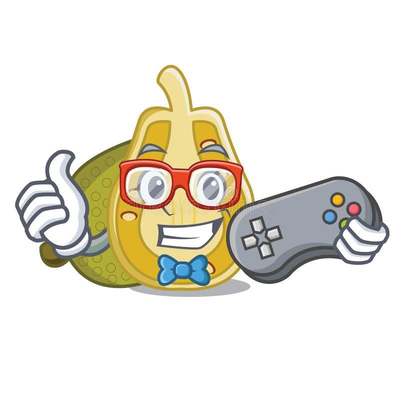 Estilo dos desenhos animados da mascote do jackfruit do Gamer ilustração do vetor