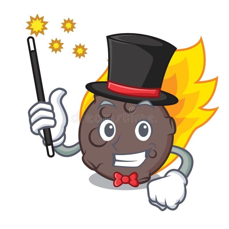 Estilo dos desenhos animados da mascote do meteorito do mágico ilustração stock