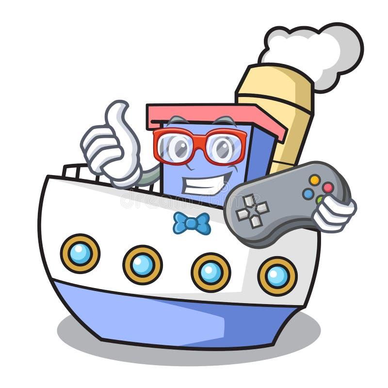 Estilo dos desenhos animados da mascote do navio do Gamer ilustração do vetor