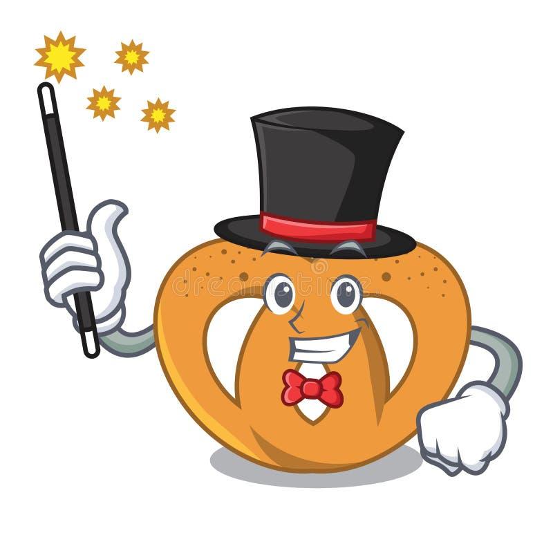 Estilo dos desenhos animados da mascote do pretzel do mágico ilustração royalty free