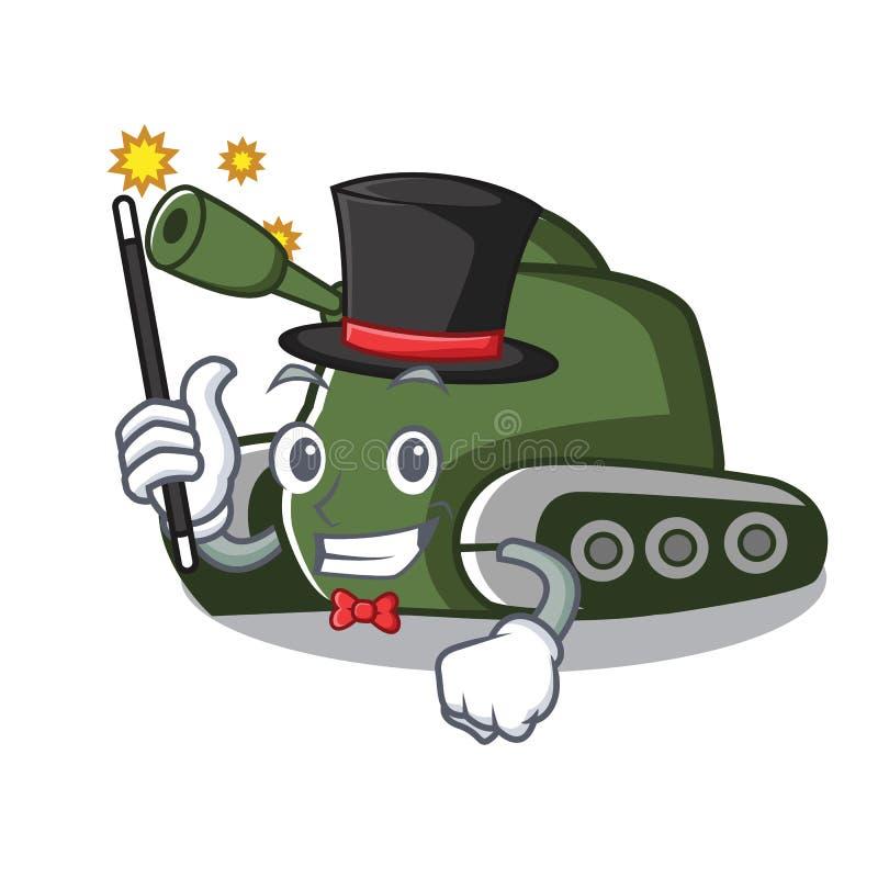 Estilo dos desenhos animados da mascote do tanque do mágico ilustração stock