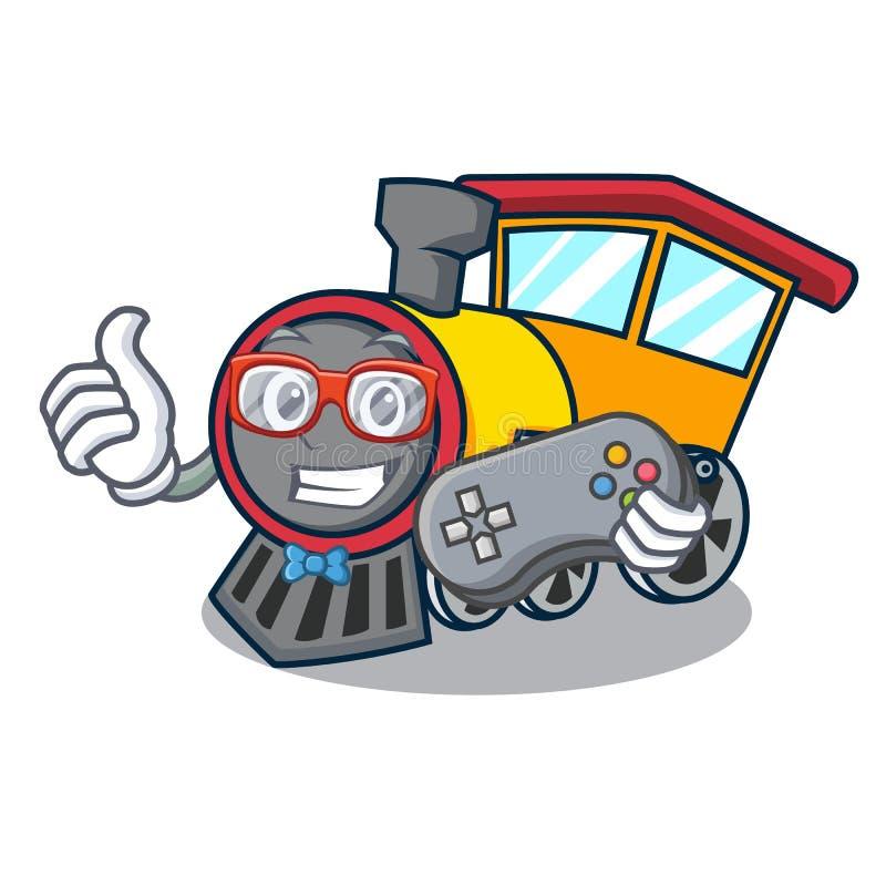 Estilo dos desenhos animados da mascote do trem do Gamer ilustração stock
