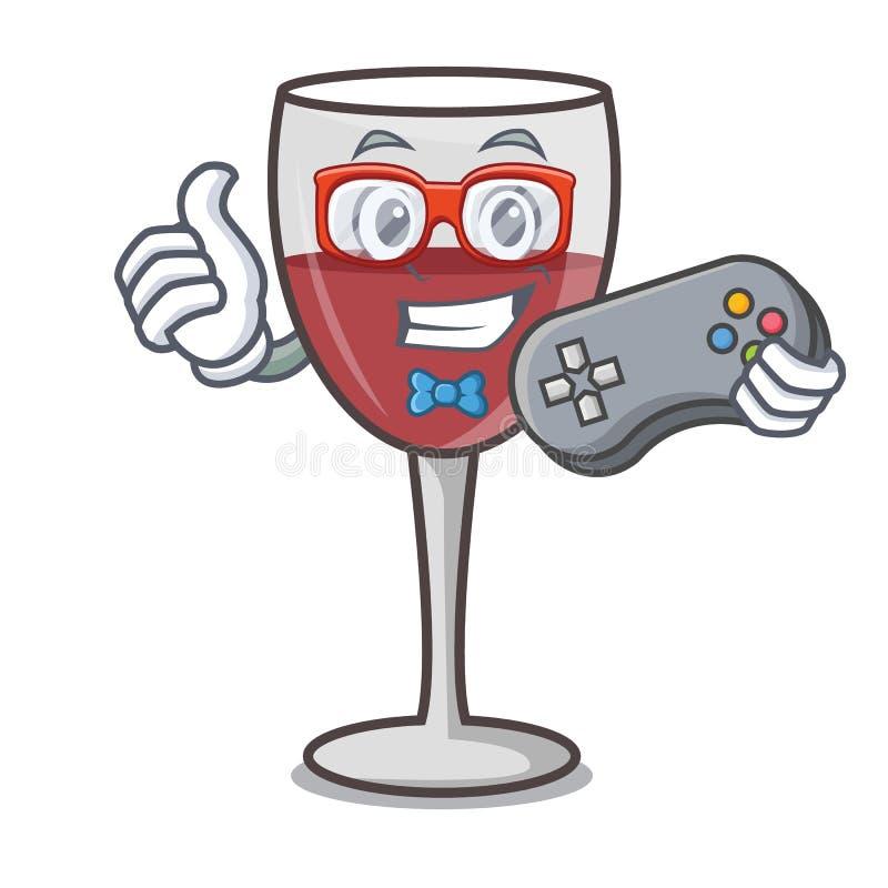Estilo dos desenhos animados da mascote do vinho do Gamer ilustração stock