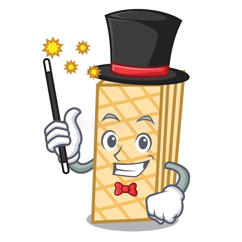 Estilo dos desenhos animados da mascote do waffle do mágico ilustração stock