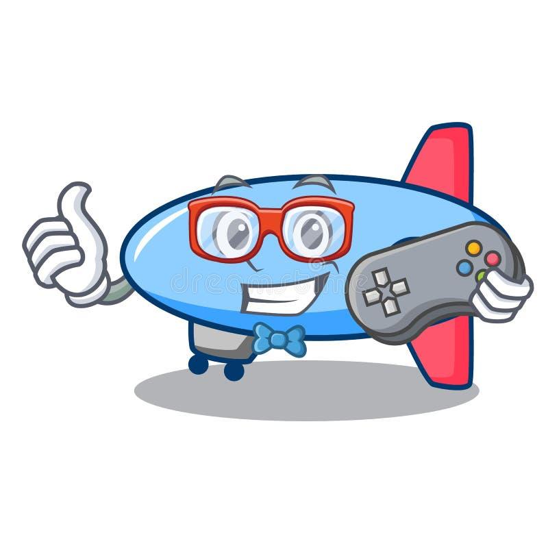Estilo dos desenhos animados da mascote do zepelim do Gamer ilustração royalty free