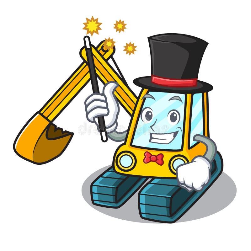 Estilo dos desenhos animados da mascote da máquina escavadora do mágico ilustração do vetor