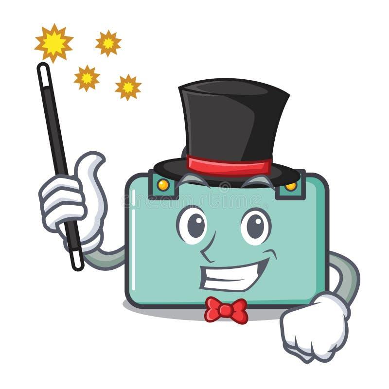 Estilo dos desenhos animados da mascote da mala de viagem do mágico ilustração royalty free