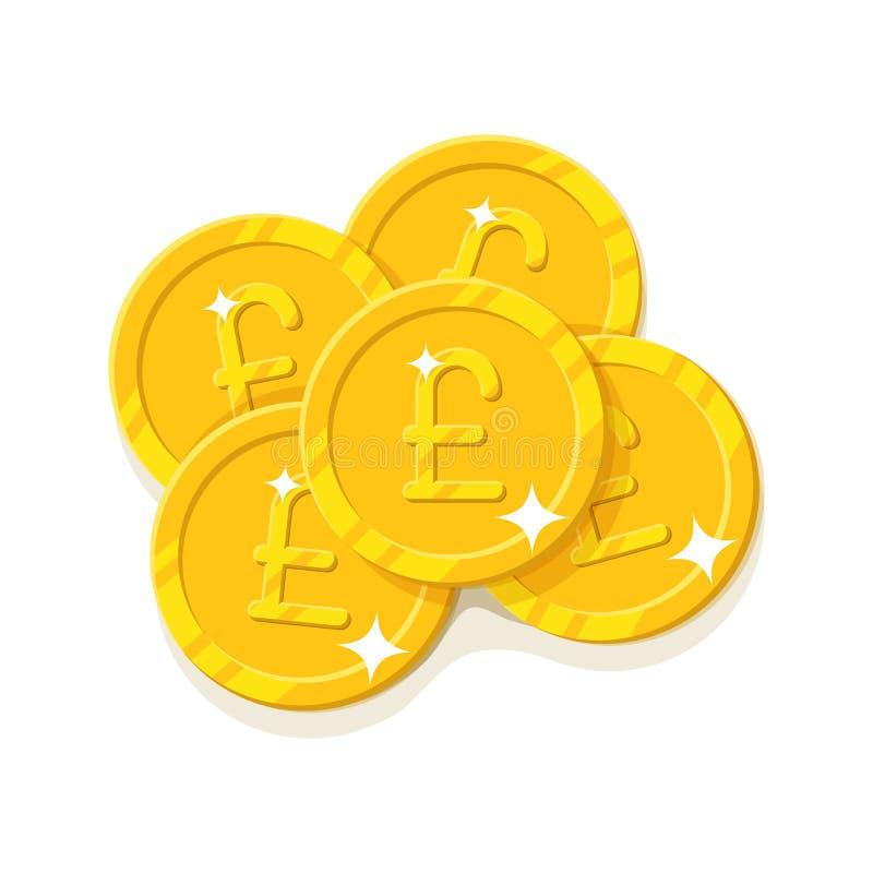 Estilo dos desenhos animados das moedas de libras do ouro isolado ilustração royalty free