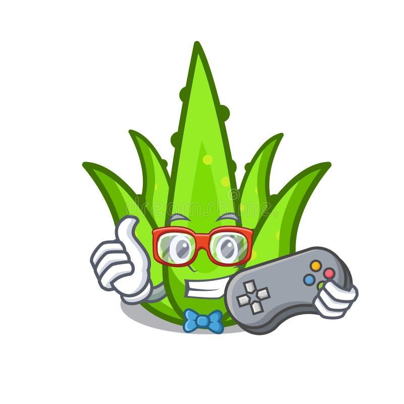 Estilo dos desenhos animados do caráter do aloevera do Gamer ilustração royalty free