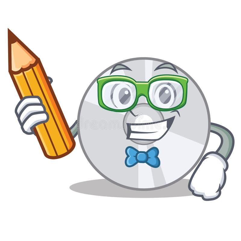 Estilo dos desenhos animados do caráter do CD do estudante ilustração do vetor